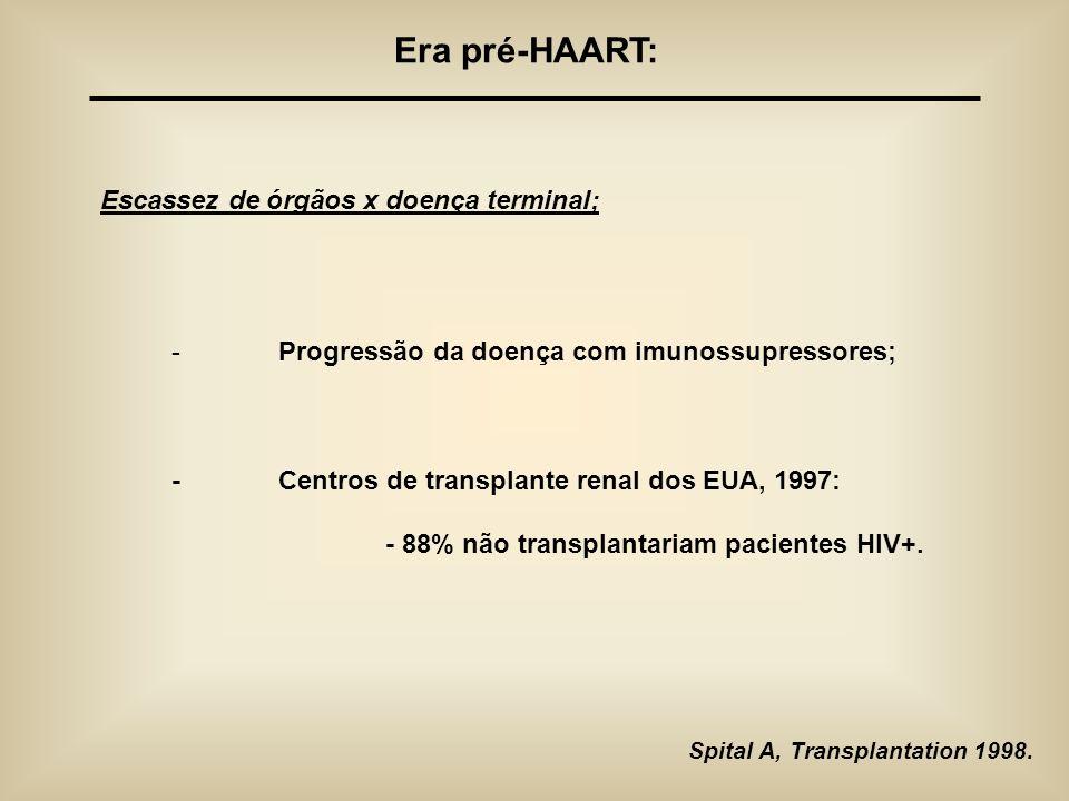 Era pré-HAART: Escassez de órgãos x doença terminal; - Progressão da doença com imunossupressores; -Centros de transplante renal dos EUA, 1997: - 88%