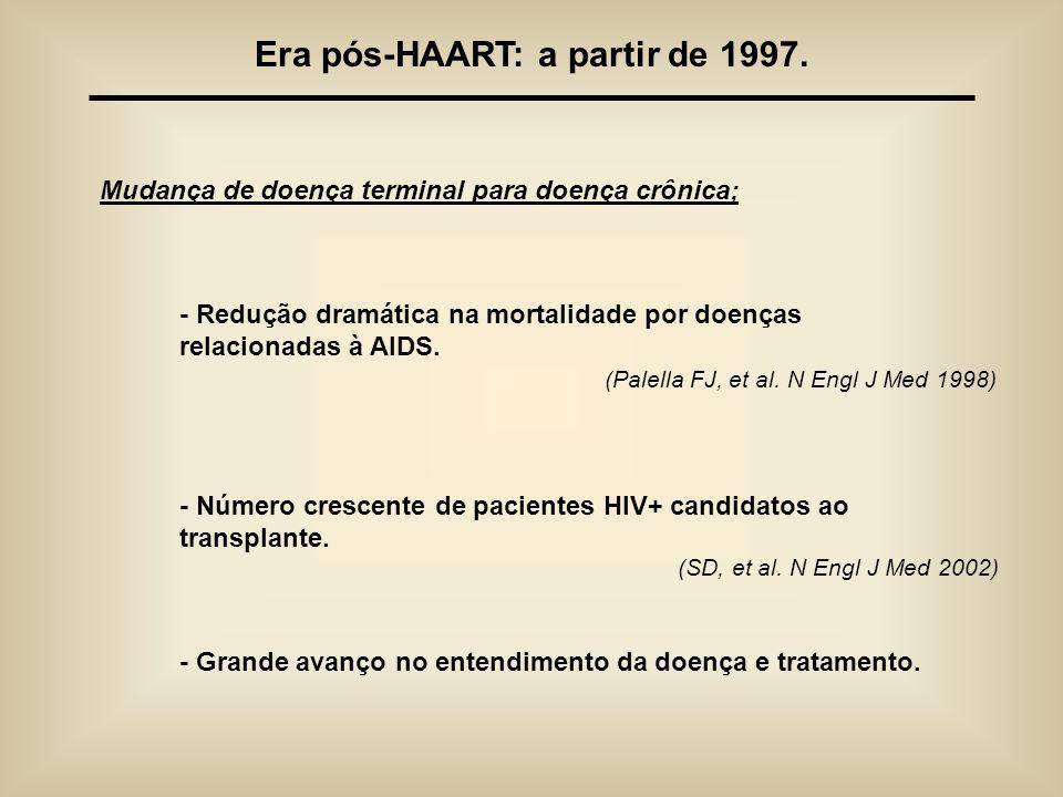Era pós-HAART: a partir de 1997. Mudança de doença terminal para doença crônica; - Redução dramática na mortalidade por doenças relacionadas à AIDS. (