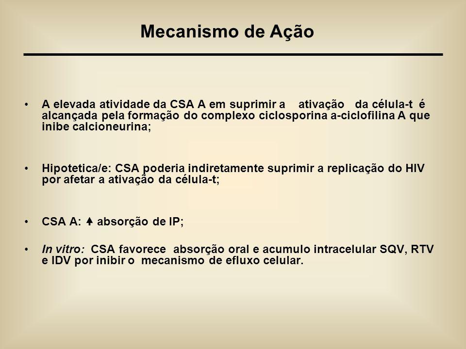 A elevada atividade da CSA A em suprimir a ativação da célula-t é alcançada pela formação do complexo ciclosporina a-ciclofilina A que inibe calcioneu