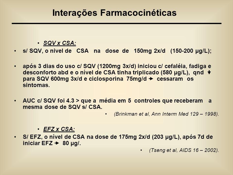 SQV x CSA: s/ SQV, o nivel de CSA na dose de 150mg 2x/d (150-200 µg/L); após 3 dias do uso c/ SQV (1200mg 3x/d) iniciou c/ cefaléia, fadiga e desconfo