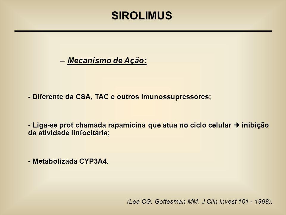 (Lee CG, Gottesman MM, J Clin Invest 101 - 1998). SIROLIMUS –Mecanismo de Ação: - Diferente da CSA, TAC e outros imunossupressores; - Liga-se prot cha