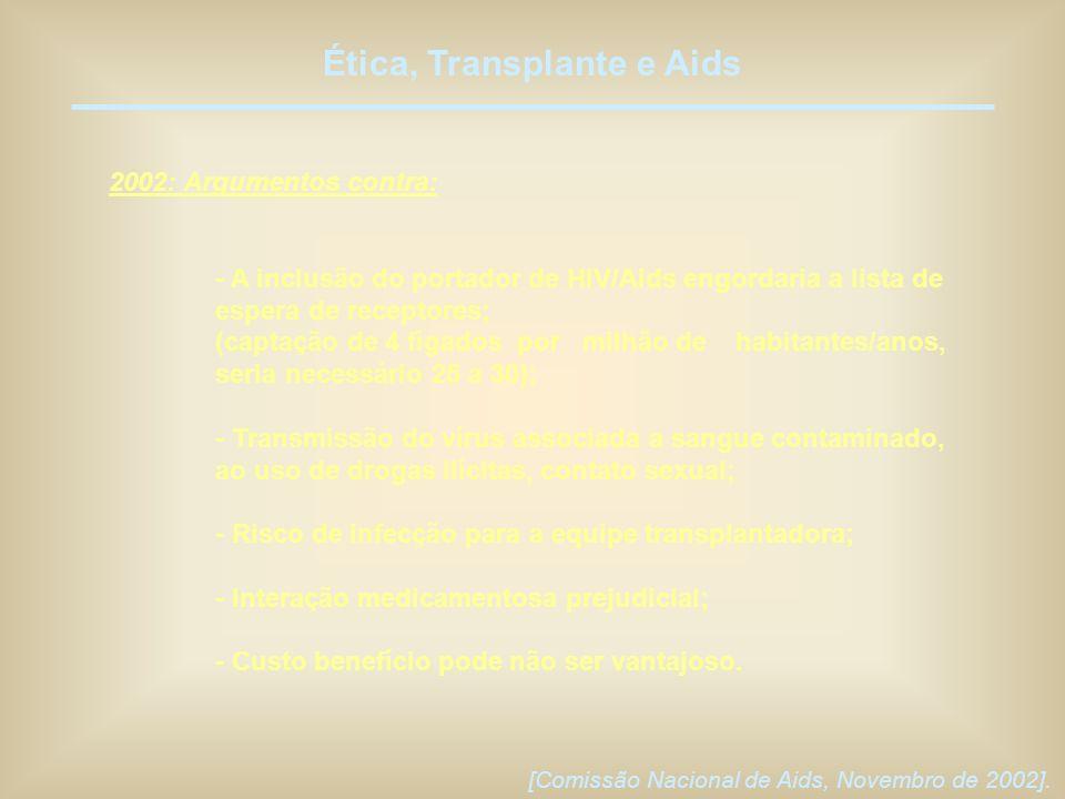 Ética, Transplante e Aids 2002: Argumentos contra: - A inclusão do portador de HIV/Aids engordaria a lista de espera de receptores; (captação de 4 fíg