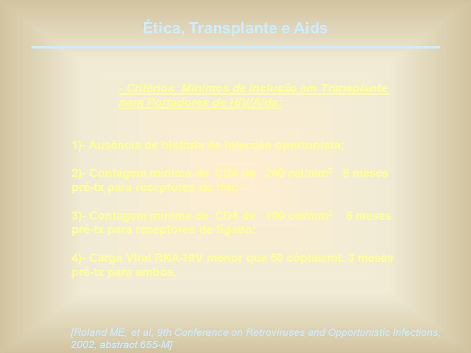 Ética, Transplante e Aids - Critérios Mínimos de Inclusão em Transplante para Portadores de HIV/Aids: 1)- Ausência de história de infecção oportunista