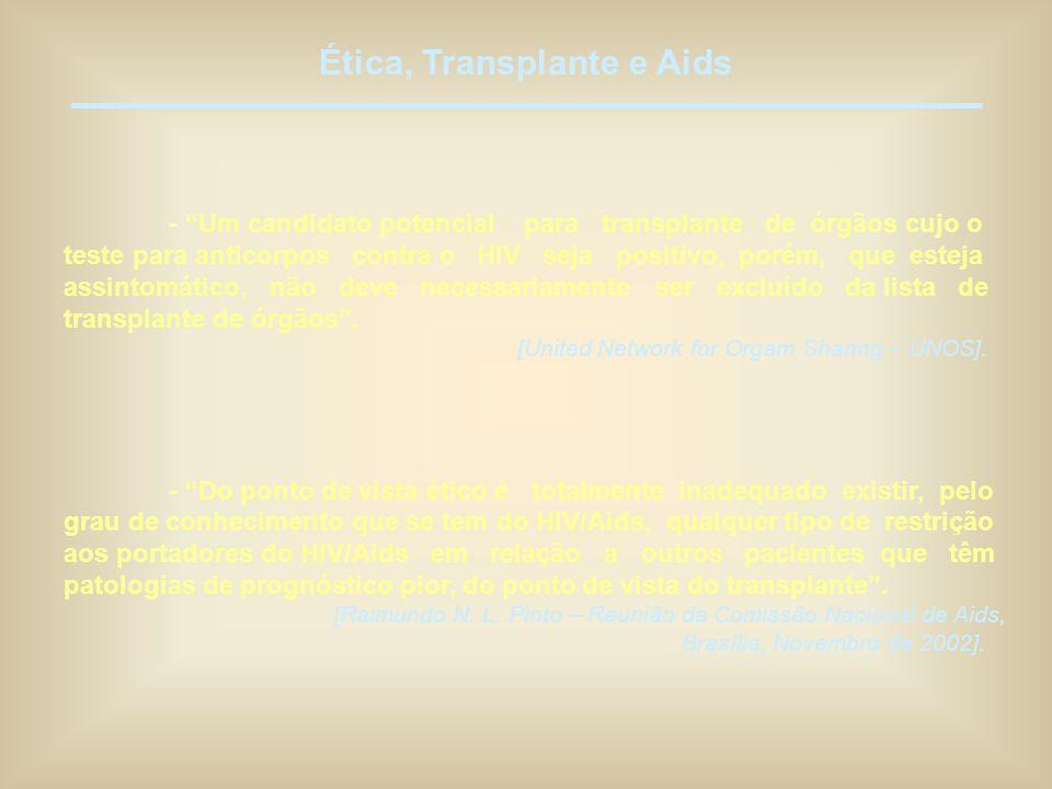 Ética, Transplante e Aids - Um candidato potencial para transplante de órgãos cujo o teste para anticorpos contra o HIV seja positivo, porém, que este