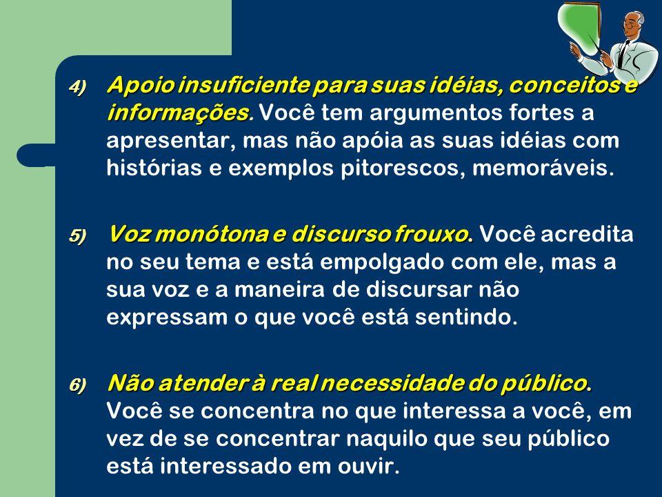 4) Apoio insuficiente para suas idéias, conceitos e informações 4) Apoio insuficiente para suas idéias, conceitos e informações.