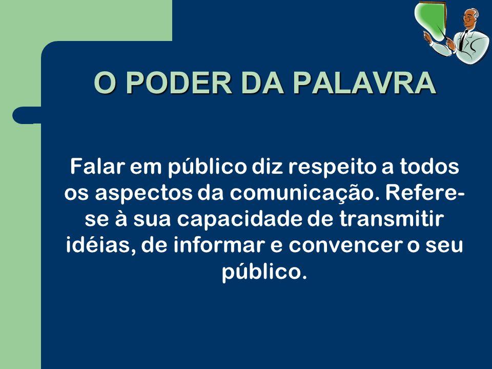 O PODER DA PALAVRA Falar em público diz respeito a todos os aspectos da comunicação.
