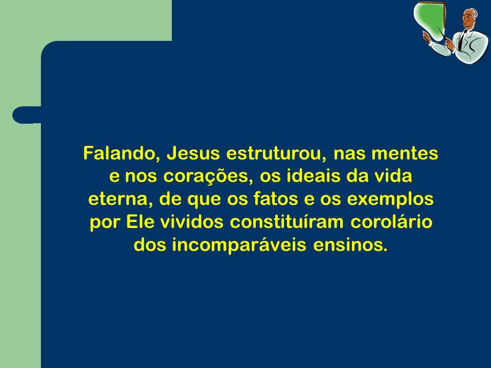 Falando, Jesus estruturou, nas mentes e nos corações, os ideais da vida eterna, de que os fatos e os exemplos por Ele vividos constituíram corolário dos incomparáveis ensinos.