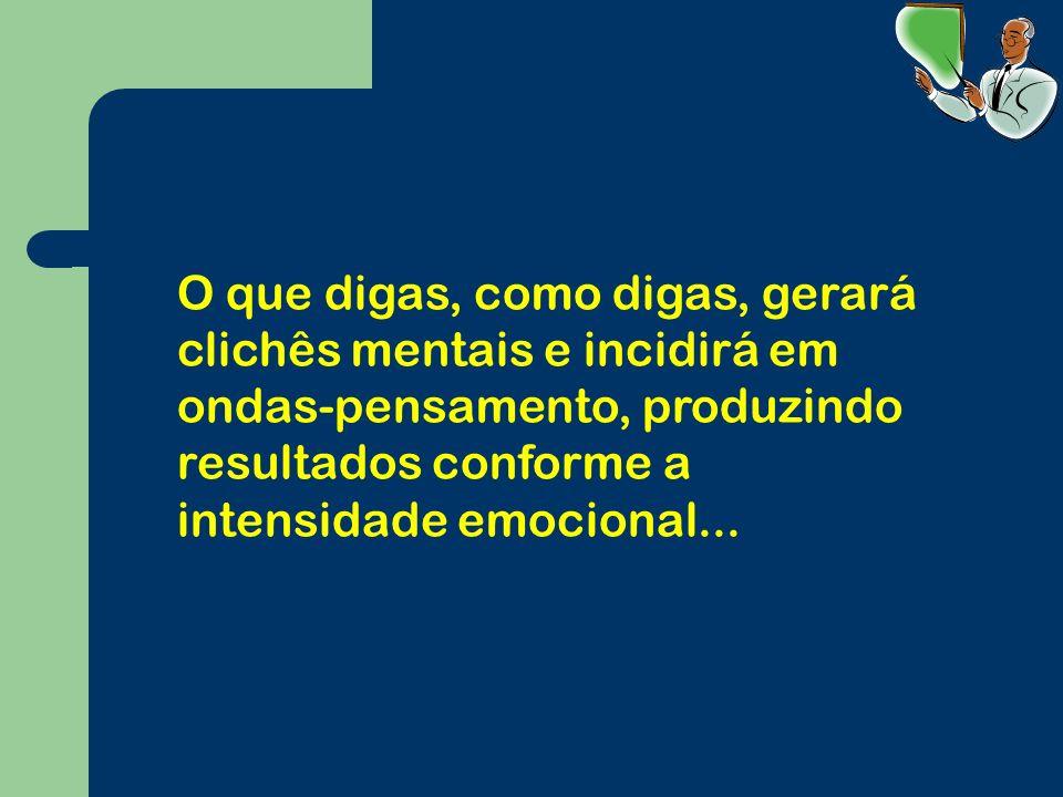 O que digas, como digas, gerará clichês mentais e incidirá em ondas-pensamento, produzindo resultados conforme a intensidade emocional...