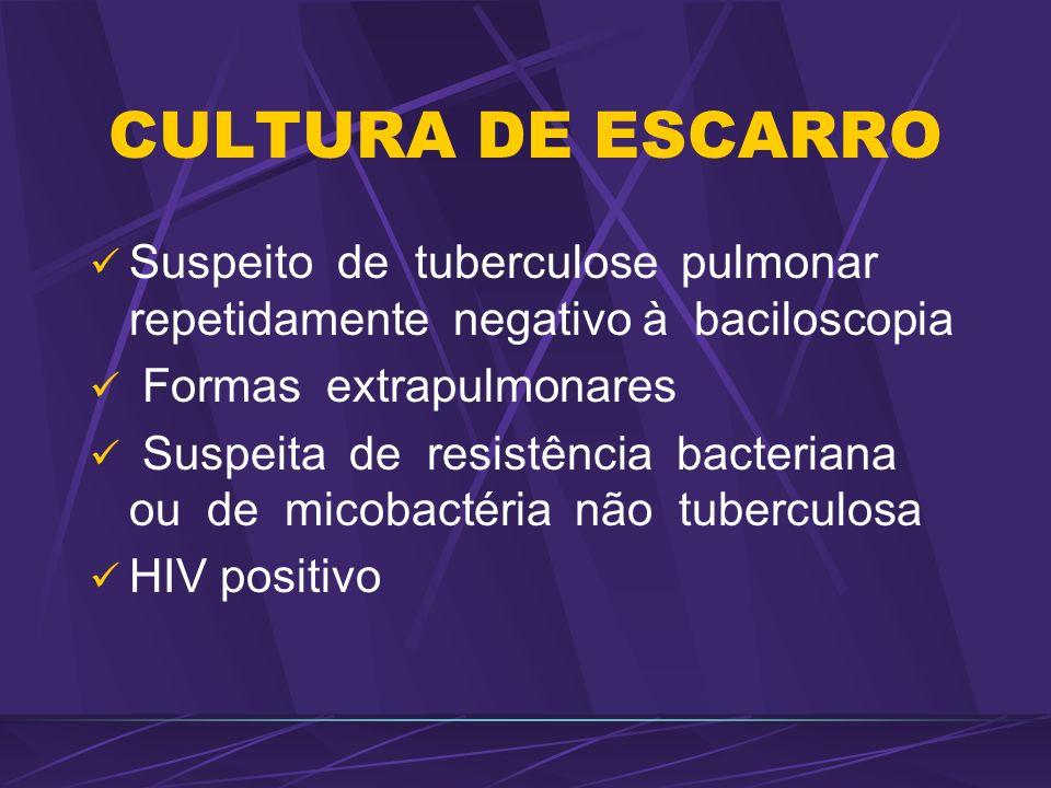 CULTURA DE ESCARRO Suspeito de tuberculose pulmonar repetidamente negativo à baciloscopia Formas extrapulmonares Suspeita de resistência bacteriana ou