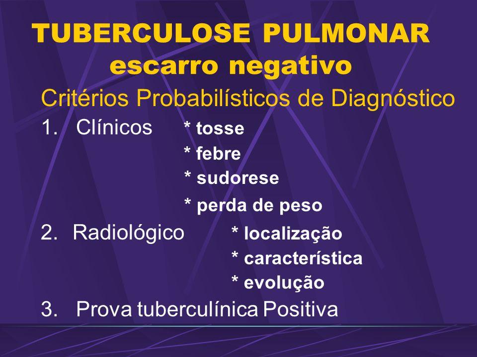 TUBERCULOSE PULMONAR escarro negativo Critérios Probabilísticos de Diagnóstico 1. Clínicos * tosse * febre * sudorese * perda de peso 2.Radiológico *