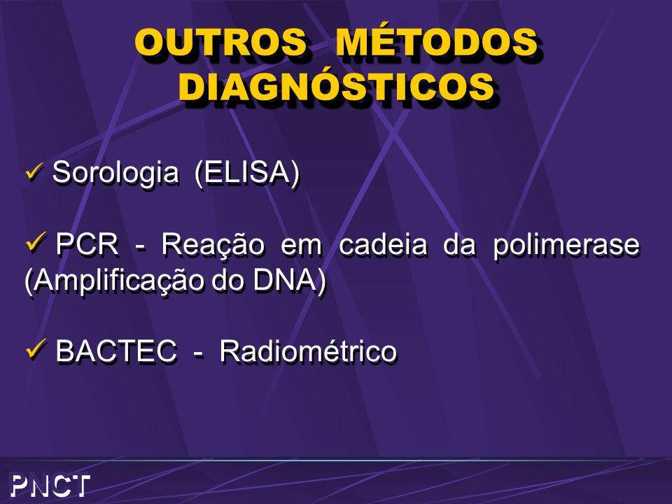 OUTROS MÉTODOS DIAGNÓSTICOS Sorologia (ELISA) PCR - Reação em cadeia da polimerase (Amplificação do DNA) BACTEC - Radiométrico Sorologia (ELISA) PCR -