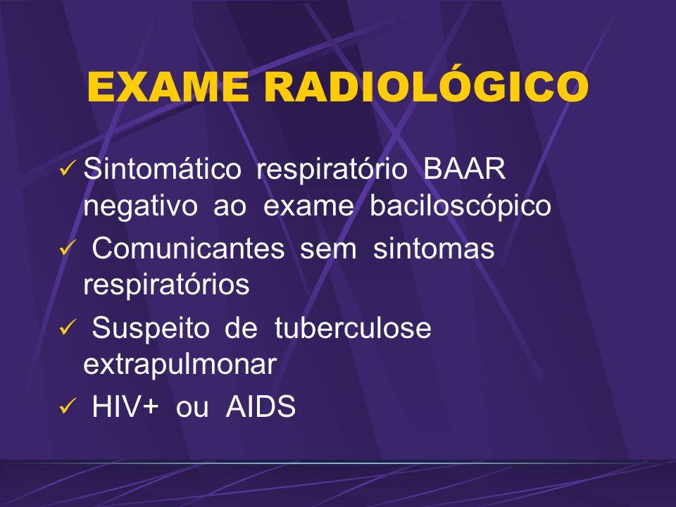 EXAME RADIOLÓGICO Sintomático respiratório BAAR negativo ao exame baciloscópico Comunicantes sem sintomas respiratórios Suspeito de tuberculose extrap