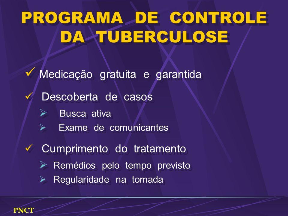 PROGRAMA DE CONTROLE DA TUBERCULOSE Medicação gratuita e garantida Descoberta de casos Busca ativa Exame de comunicantes Cumprimento do tratamento Rem