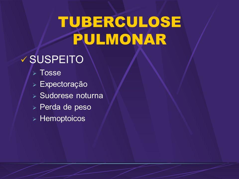 TUBERCULOSE PULMONAR SUSPEITO Tosse Expectoração Sudorese noturna Perda de peso Hemoptoicos