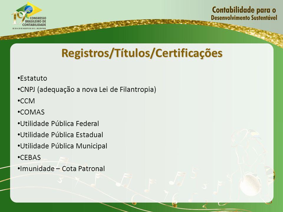 Registros/Títulos/Certificações Estatuto CNPJ (adequação a nova Lei de Filantropia) CCM COMAS Utilidade Pública Federal Utilidade Pública Estadual Uti