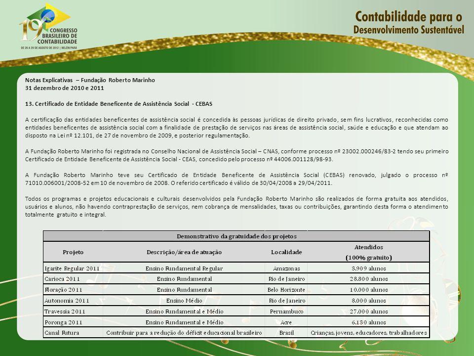 Notas Explicativas – Fundação Roberto Marinho 31 dezembro de 2010 e 2011 13. Certificado de Entidade Beneficente de Assistência Social - CEBAS A certi