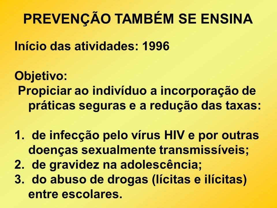 Início das atividades: 1996 Objetivo: Propiciar ao indivíduo a incorporação de práticas seguras e a redução das taxas: 1. de infecção pelo vírus HIV e