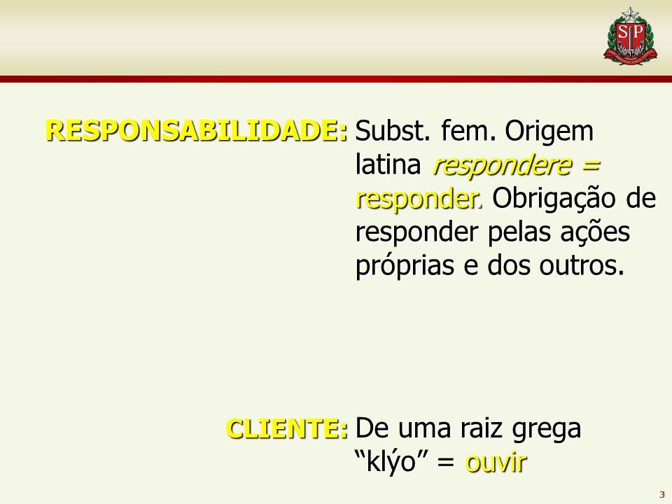 3 RESPONSABILIDADE: CLIENTE: Subst.fem. Origem latina respondere = responder.