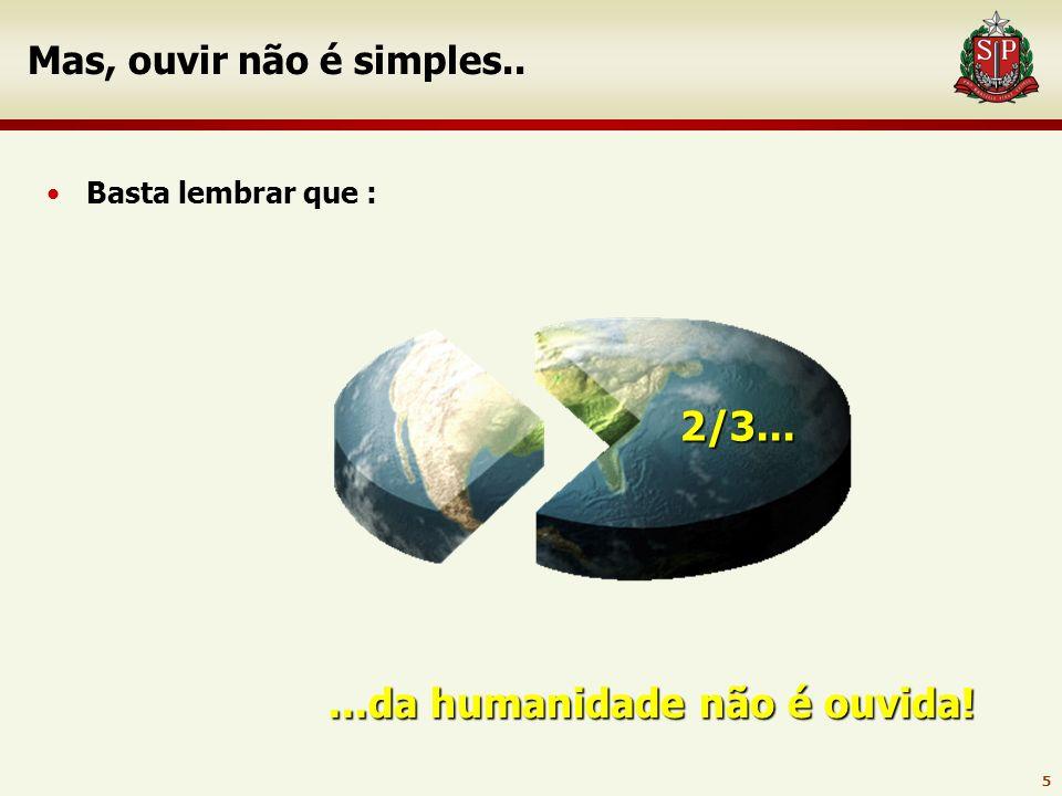 5 Mas, ouvir não é simples.. Basta lembrar que :...da humanidade não é ouvida! 2/3...