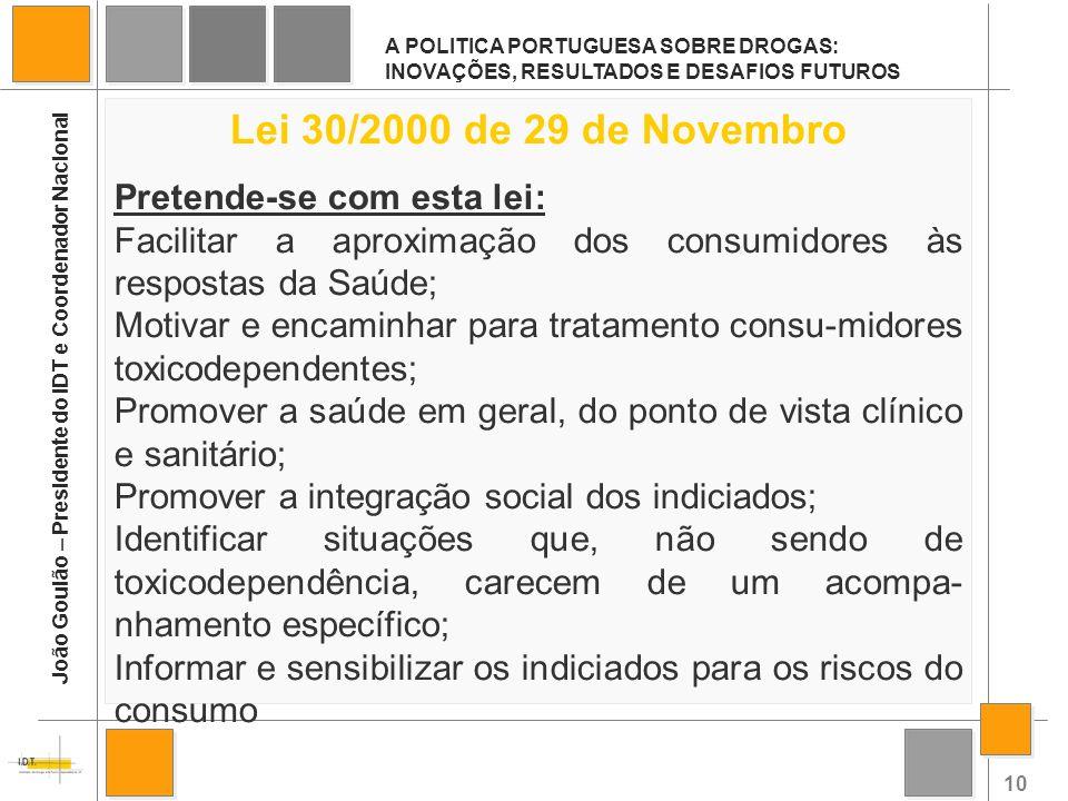 10 A POLITICA PORTUGUESA SOBRE DROGAS: INOVAÇÕES, RESULTADOS E DESAFIOS FUTUROS João Goulão – Presidente do IDT e Coordenador Nacional Lei 30/2000 de