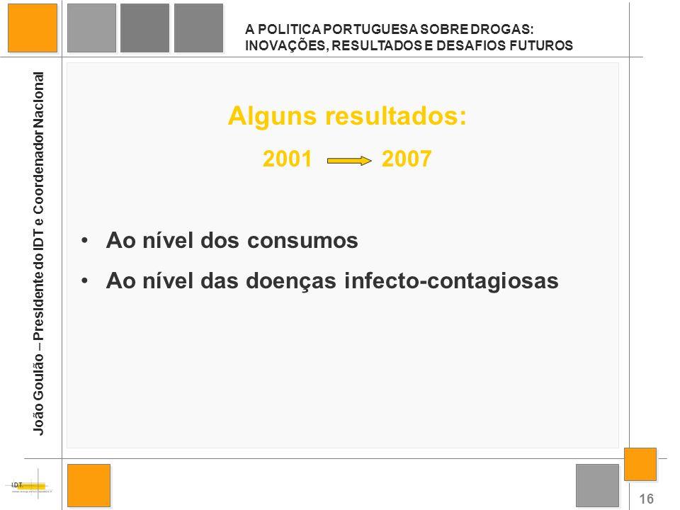 16 A POLITICA PORTUGUESA SOBRE DROGAS: INOVAÇÕES, RESULTADOS E DESAFIOS FUTUROS João Goulão – Presidente do IDT e Coordenador Nacional Alguns resultad