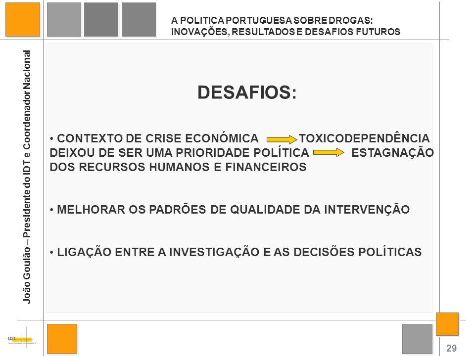 29 A POLITICA PORTUGUESA SOBRE DROGAS: INOVAÇÕES, RESULTADOS E DESAFIOS FUTUROS João Goulão – Presidente do IDT e Coordenador Nacional DESAFIOS: CONTE