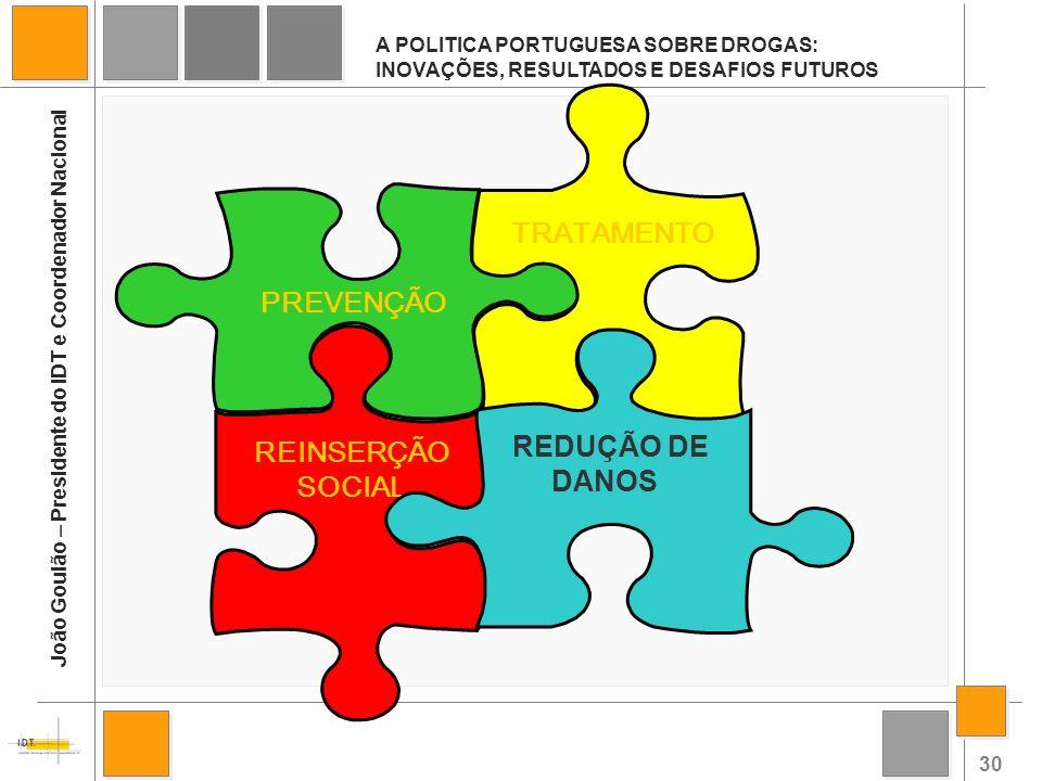 30 A POLITICA PORTUGUESA SOBRE DROGAS: INOVAÇÕES, RESULTADOS E DESAFIOS FUTUROS João Goulão – Presidente do IDT e Coordenador Nacional REINSERÇÃO SOCI