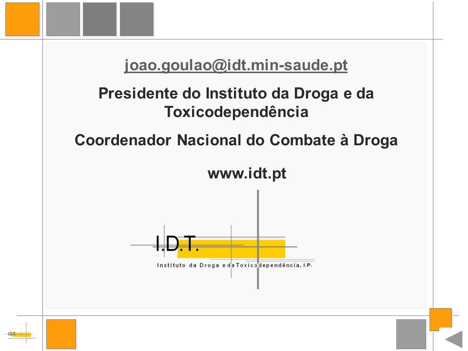 33 joao.goulao@idt.min-saude.pt Presidente do Instituto da Droga e da Toxicodependência Coordenador Nacional do Combate à Droga www.idt.pt