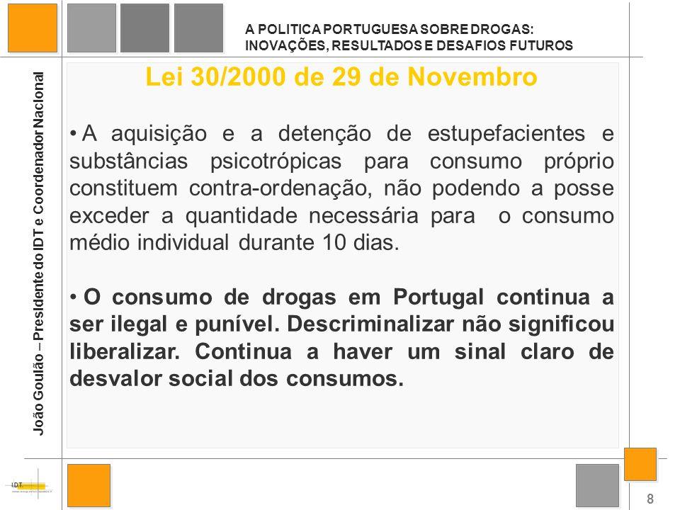 29 A POLITICA PORTUGUESA SOBRE DROGAS: INOVAÇÕES, RESULTADOS E DESAFIOS FUTUROS João Goulão – Presidente do IDT e Coordenador Nacional DESAFIOS: CONTEXTO DE CRISE ECONÓMICA TOXICODEPENDÊNCIA DEIXOU DE SER UMA PRIORIDADE POLÍTICA ESTAGNAÇÃO DOS RECURSOS HUMANOS E FINANCEIROS MELHORAR OS PADRÕES DE QUALIDADE DA INTERVENÇÃO LIGAÇÃO ENTRE A INVESTIGAÇÃO E AS DECISÕES POLÍTICAS