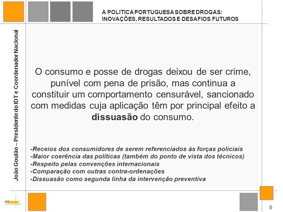 9 A POLITICA PORTUGUESA SOBRE DROGAS: INOVAÇÕES, RESULTADOS E DESAFIOS FUTUROS João Goulão – Presidente do IDT e Coordenador Nacional O consumo e poss