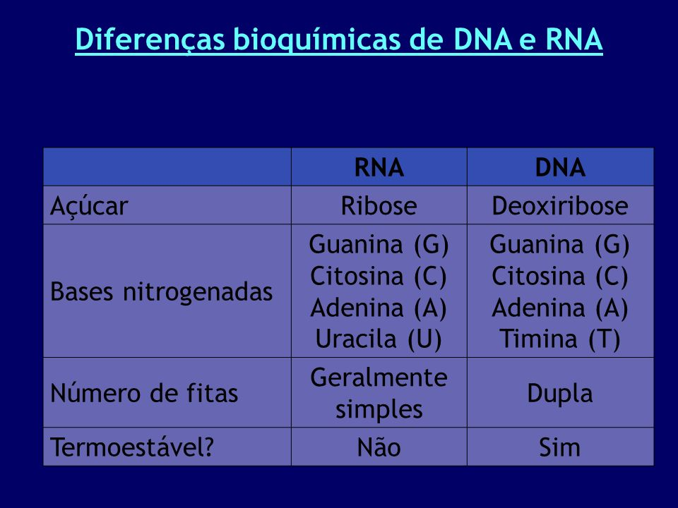 Diferenças bioquímicas de DNA e RNA RNADNA AçúcarRiboseDeoxiribose Bases nitrogenadas Guanina (G) Citosina (C) Adenina (A) Uracila (U) Guanina (G) Citosina (C) Adenina (A) Timina (T) Número de fitas Geralmente simples Dupla Termoestável NãoSim