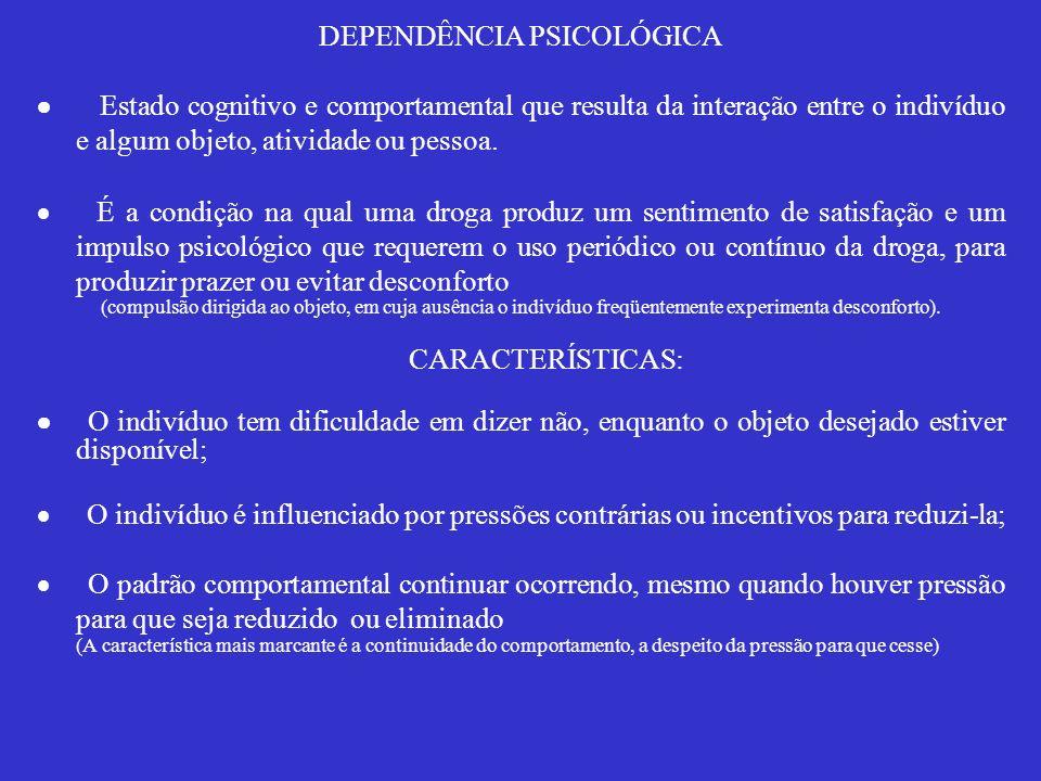 DEPENDÊNCIA PSICOLÓGICA Estado cognitivo e comportamental que resulta da interação entre o indivíduo e algum objeto, atividade ou pessoa. É a condição
