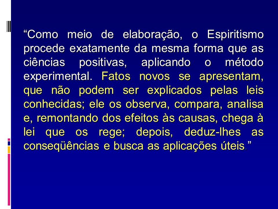 Como meio de elaboração, o Espiritismo procede exatamente da mesma forma que as ciências positivas, aplicando o método experimental. Fatos novos se ap