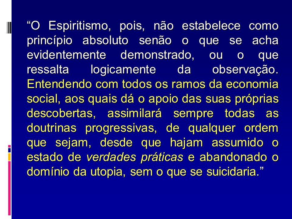 O Espiritismo, pois, não estabelece como princípio absoluto senão o que se acha evidentemente demonstrado, ou o que ressalta logicamente da observação