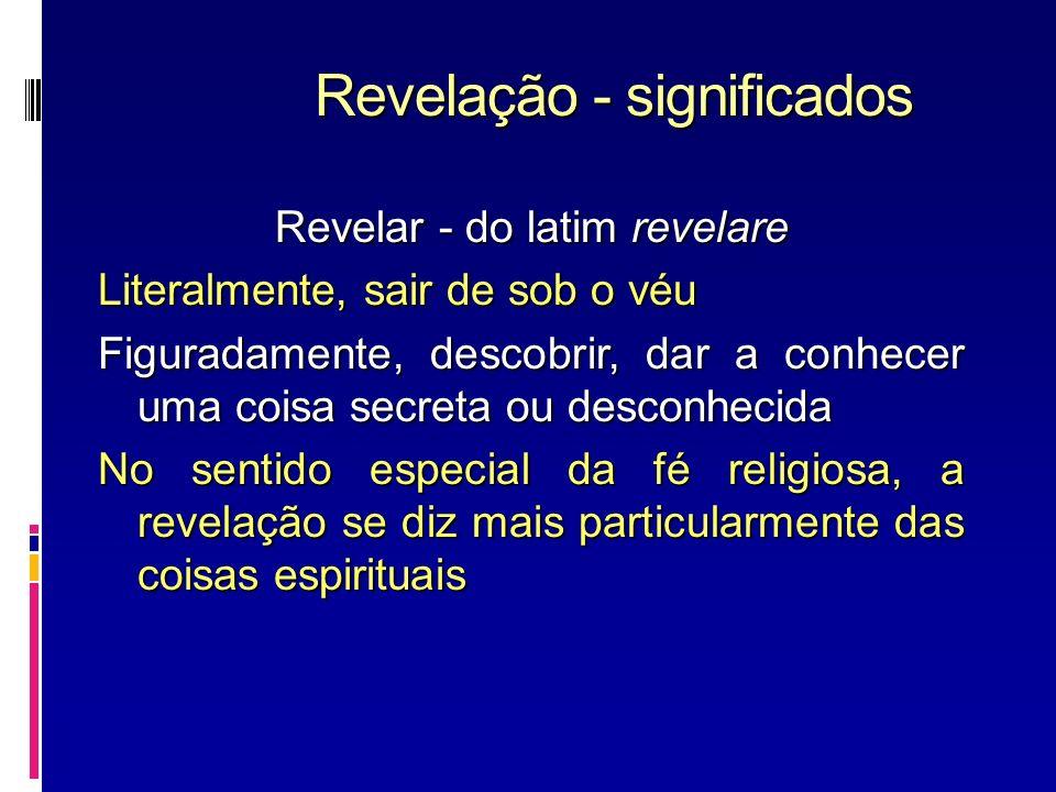 Revelação - significados Revelar - do latim revelare Literalmente, sair de sob o véu Figuradamente, descobrir, dar a conhecer uma coisa secreta ou des