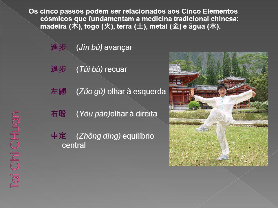 (Jìn bù) avançar (Tùi bù) recuar (Zǔo gù) olhar à esquerda (Yòu pàn)olhar à direita (Zhōng dìng) equilíbrio central Os cinco passos podem ser relacion