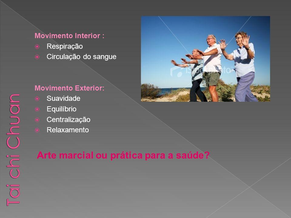 Movimento Interior : Respiração Circulação do sangue Movimento Exterior: Suavidade Equilíbrio Centralização Relaxamento Arte marcial ou prática para a