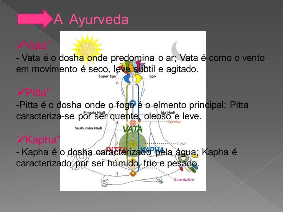 A Ayurveda Vata - Vata é o dosha onde predomina o ar; Vata é como o vento em movimento é seco, leve subtil e agitado. Pitta -P-Pitta é o dosha onde o