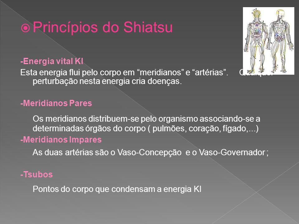 Princípios do Shiatsu -Energia vital KI Esta energia flui pelo corpo em meridianos e artérias. Qualquer perturbação nesta energia cria doenças. -Merid