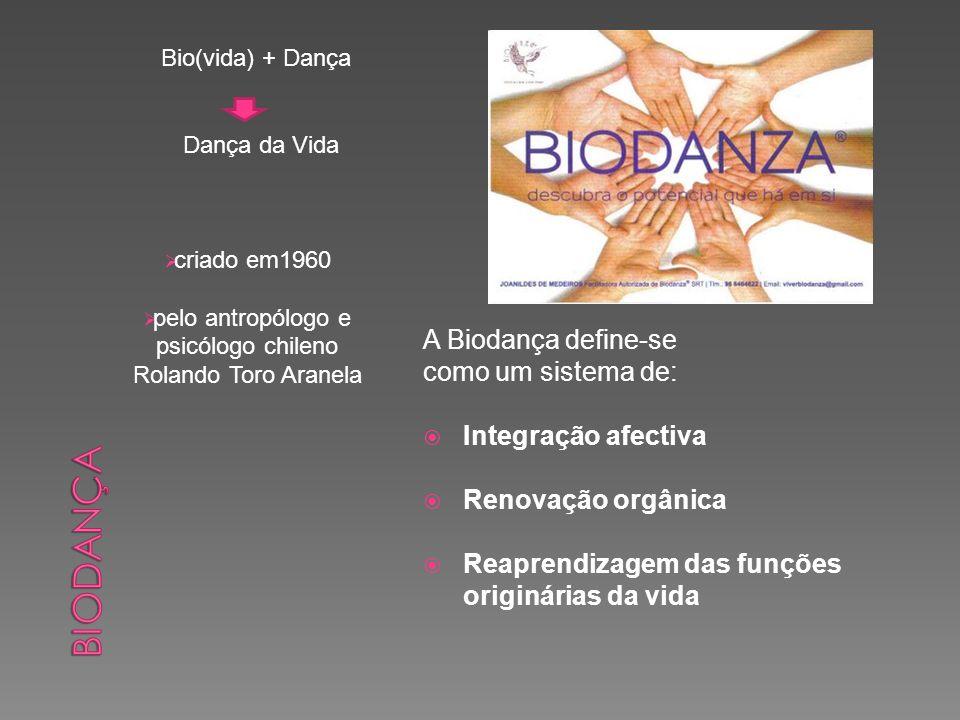 Bio(vida) + Dança Dança da Vida criado em1960 pelo antropólogo e psicólogo chileno Rolando Toro Aranela A Biodança define-se como um sistema de: Integ