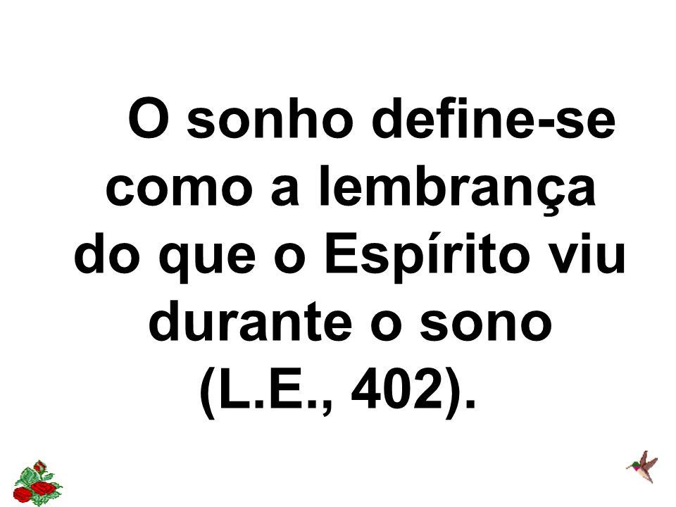 O sonho define-se como a lembrança do que o Espírito viu durante o sono (L.E., 402).