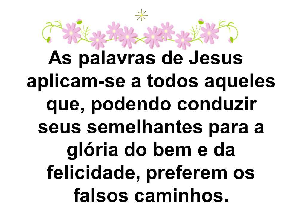 As palavras de Jesus aplicam-se a todos aqueles que, podendo conduzir seus semelhantes para a glória do bem e da felicidade, preferem os falsos caminh