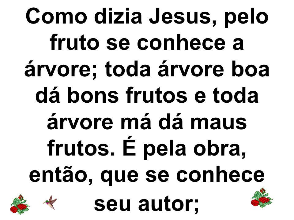 Como dizia Jesus, pelo fruto se conhece a árvore; toda árvore boa dá bons frutos e toda árvore má dá maus frutos.