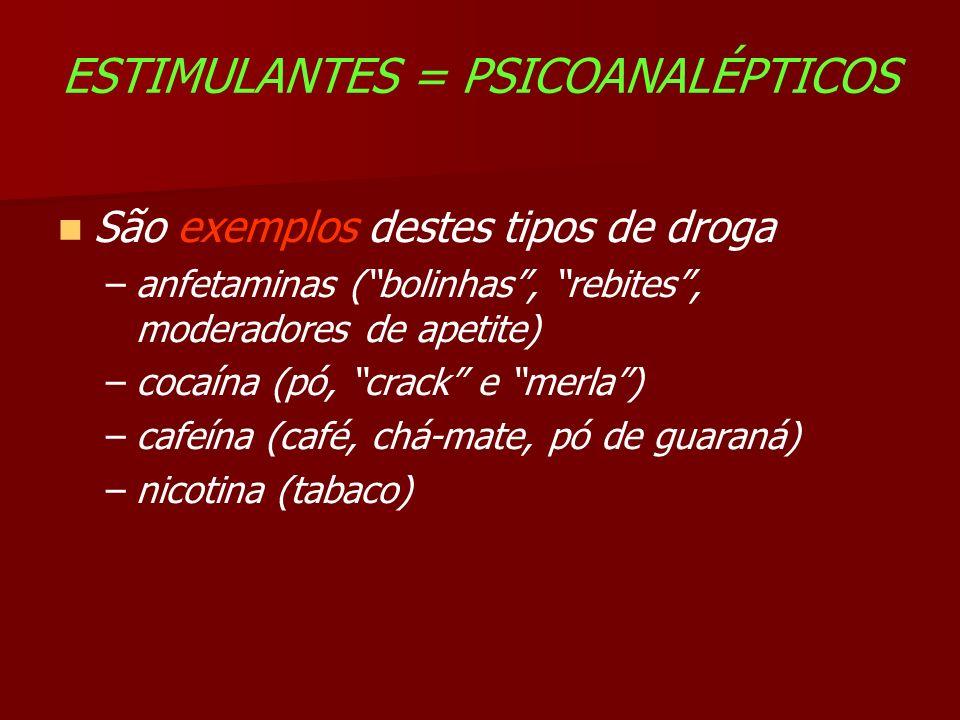 ESTIMULANTES = PSICOANALÉPTICOS São exemplos destes tipos de droga –anfetaminas (bolinhas, rebites, moderadores de apetite) –cocaína (pó, crack e merla) –cafeína (café, chá-mate, pó de guaraná) –nicotina (tabaco)