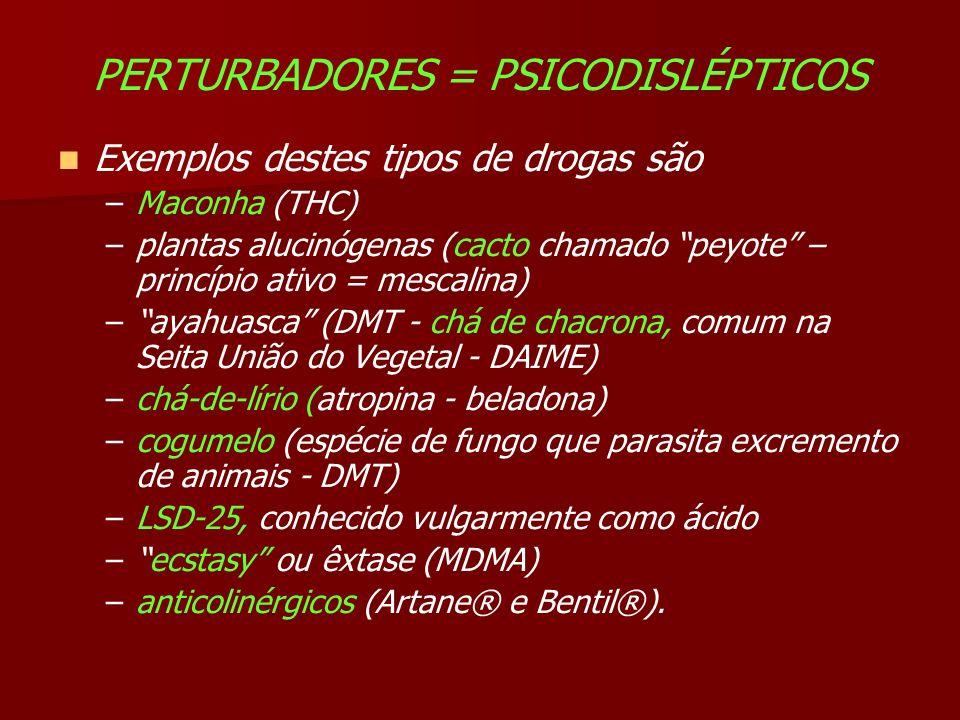 PERTURBADORES = PSICODISLÉPTICOS Exemplos destes tipos de drogas são –Maconha (THC) –plantas alucinógenas (cacto chamado peyote – princípio ativo = mescalina) –ayahuasca (DMT - chá de chacrona, comum na Seita União do Vegetal - DAIME) –chá-de-lírio (atropina - beladona) –cogumelo (espécie de fungo que parasita excremento de animais - DMT) –LSD-25, conhecido vulgarmente como ácido –ecstasy ou êxtase (MDMA) –anticolinérgicos (Artane® e Bentil®).