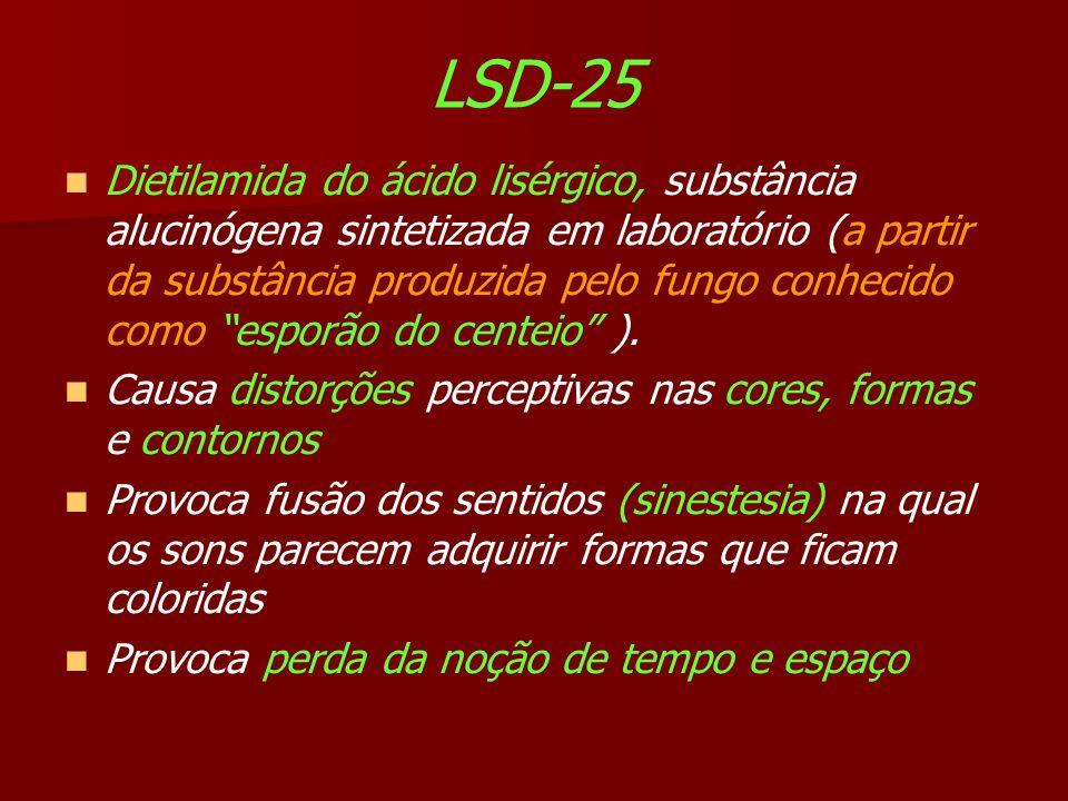 LSD-25 Dietilamida do ácido lisérgico, substância alucinógena sintetizada em laboratório (a partir da substância produzida pelo fungo conhecido como esporão do centeio ).