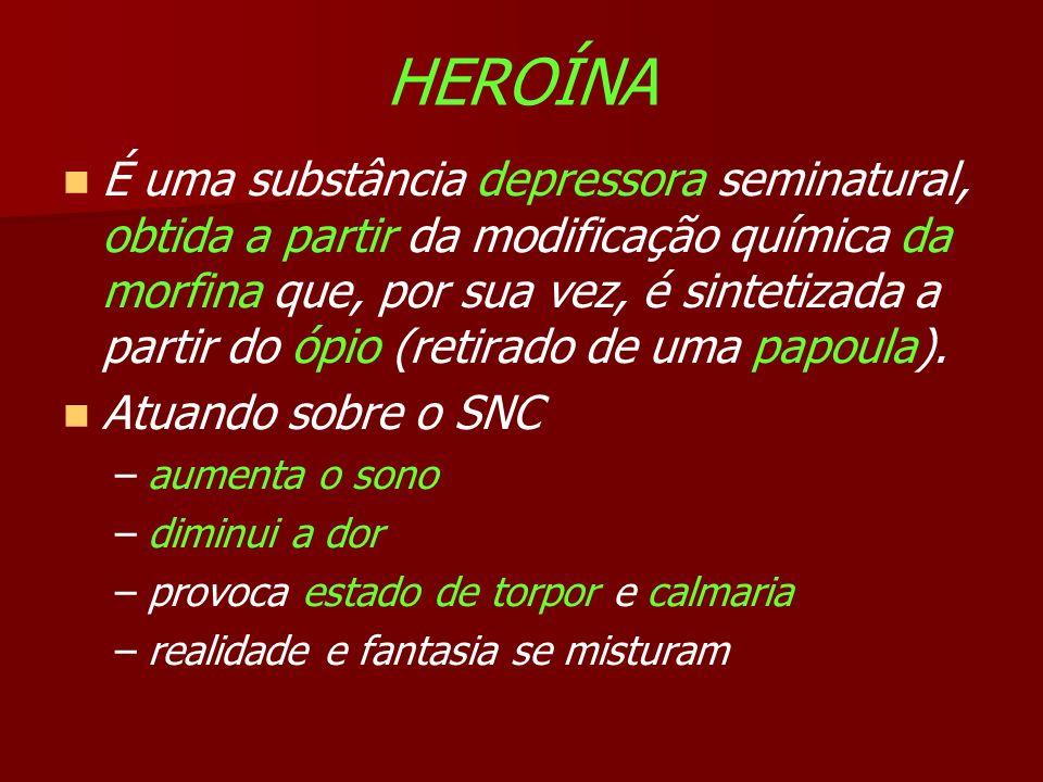 HEROÍNA É uma substância depressora seminatural, obtida a partir da modificação química da morfina que, por sua vez, é sintetizada a partir do ópio (retirado de uma papoula).