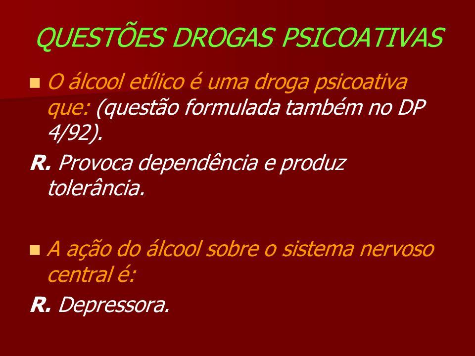 QUESTÕES DROGAS PSICOATIVAS O álcool etílico é uma droga psicoativa que: (questão formulada também no DP 4/92).