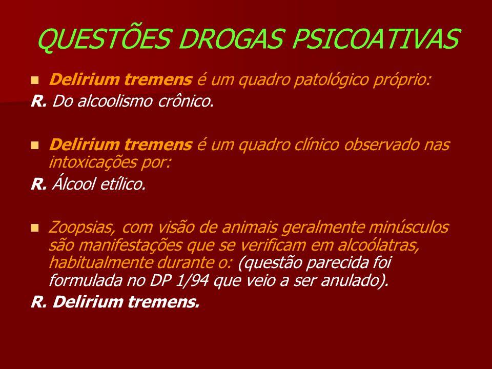 QUESTÕES DROGAS PSICOATIVAS Delirium tremens é um quadro patológico próprio: R.