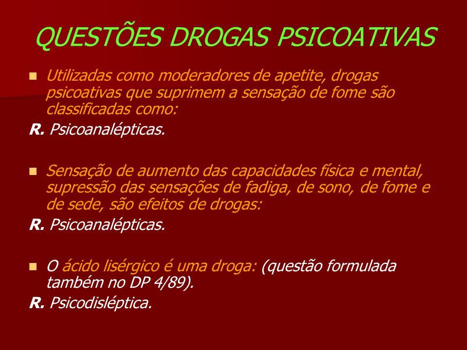 QUESTÕES DROGAS PSICOATIVAS Utilizadas como moderadores de apetite, drogas psicoativas que suprimem a sensação de fome são classificadas como: R.